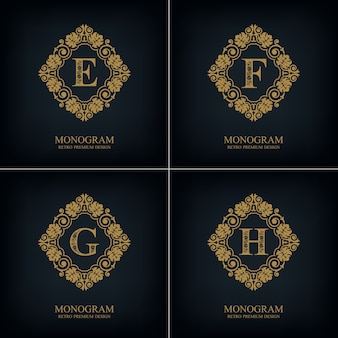 Flourishes letter emblem e f g h template, monogram design elements, calligraphic graceful template.