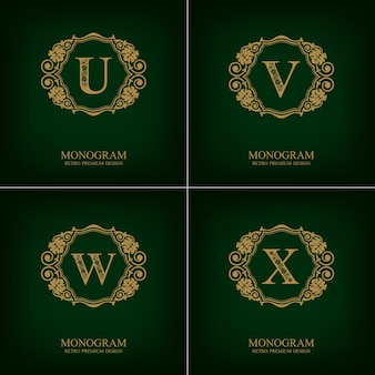 Flourishes letter emblem u v w x template, monogram design elements, calligraphic graceful template.