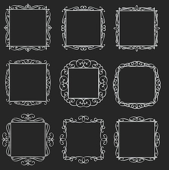 Flourishes square frames set. calligraphic  elements. monogram retro labels. white on black, illustration.