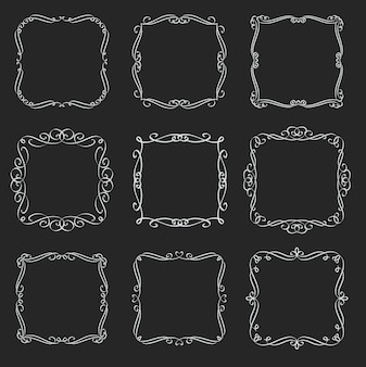 Flourishes square frames set. calligraphic  elements. monogram retro labels. white on black, illustration.