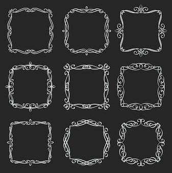 Набор квадратных рамок процветает. каллиграфические элементы. вензель ретро этикетки. белое на черном, иллюстрация.
