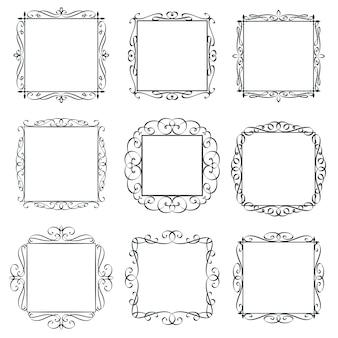 Набор старинных рамок процветает. каллиграфические элементы дизайна, богато украшенная граница, приглашение карточки шаблона страницы декоративной типографии. вензель ретро этикетки.