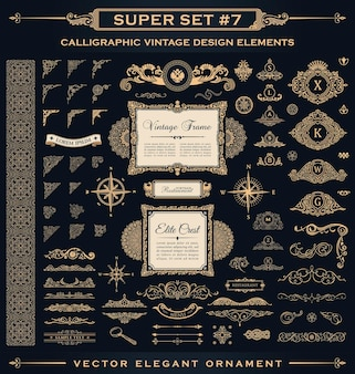 Flourishes vintage logos and page decoration ornament for design frames