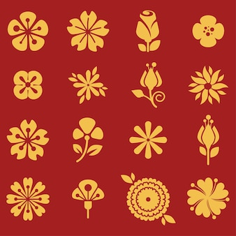 Flourishing botanical plants on red, spring and summer blooming. golden petals and leaves of tulip, daisy and orchid. biodiversity and revival of flora. organic bouquets, vector in flat style