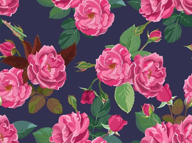분홍 장미, 봄과 여름 꽃이 만발한 단풍과 꽃. 낭만적인 배경 또는 인쇄, 식물학 장식품 및 장식으로 여성스러운 포장. 평면 스타일 그림에서 벡터