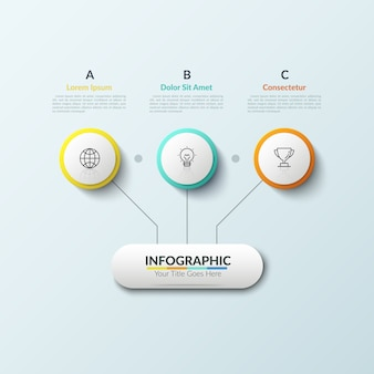 フローチャート。円と文字付きテキストボックスの内側に配置された3つの線形アイコンの線で接続されたメイン要素。戦略的スキームの概念。