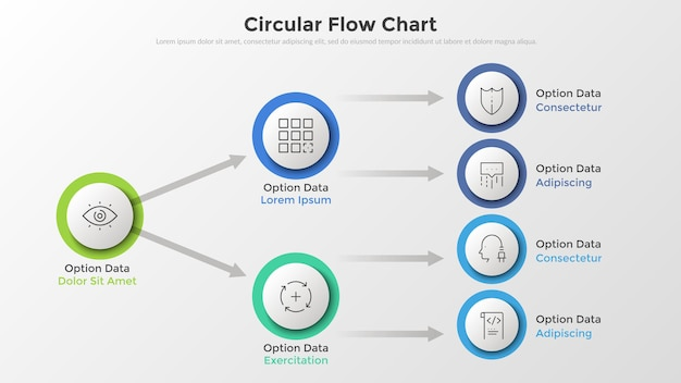 Flow diagram or flowchart with circular paper white elements connected by arrows, thin line pictograms and place for text. unique infographic design template. vector illustration for presentation.