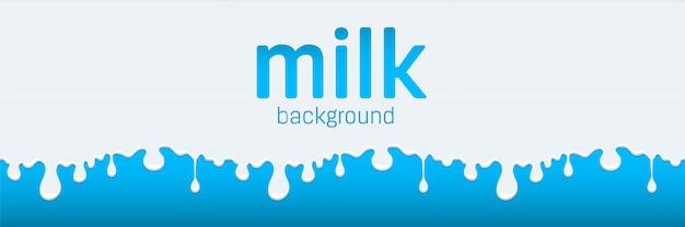 Flow and drip of milk. splash drop cream.