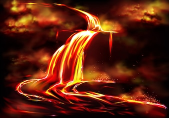 Flow of hot fluid lava, clouds of poisonous smoke and ash, toxic gases explosions