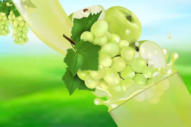 Поток жидкости с каплями и сладкими фруктами