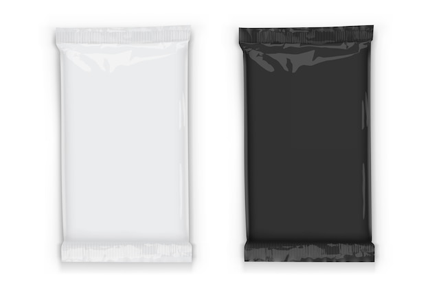 Flow packaging with transparent shadows isolated on white
