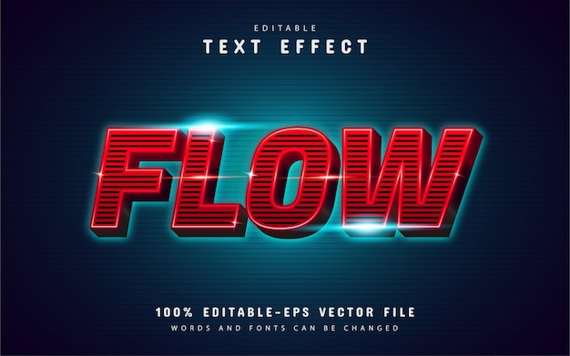 Flow text effect with line pattern