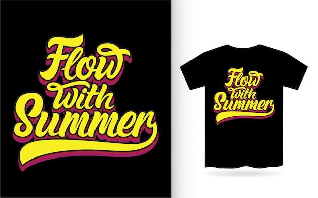 Поток с летним дизайном надписи для футболки