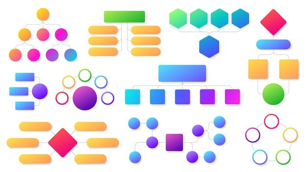 フローチャートのインフォグラフィックセット