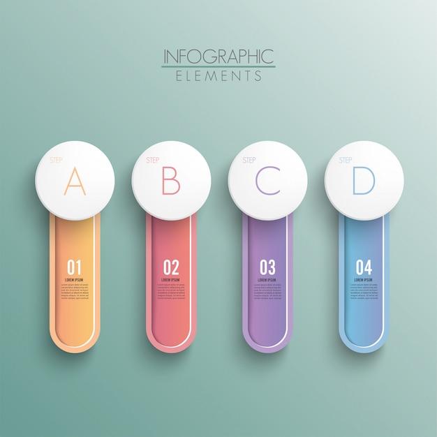 Блок-схема с 4 круглыми бумажными белыми элементами, соединенными с основным кругом. концепция четырех основных бизнес-целей компании. современная инфографика дизайн макета.