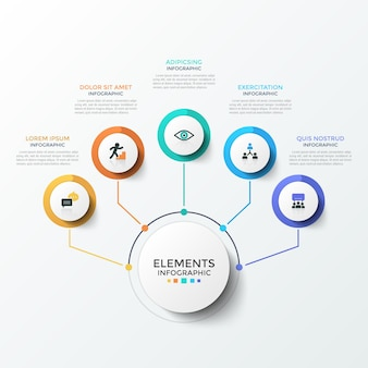 Flowchart with 5 paper white circles with flat symbols inside connected to central round element by colorful lines. modern infographic design template. vector illustration for business presentation.