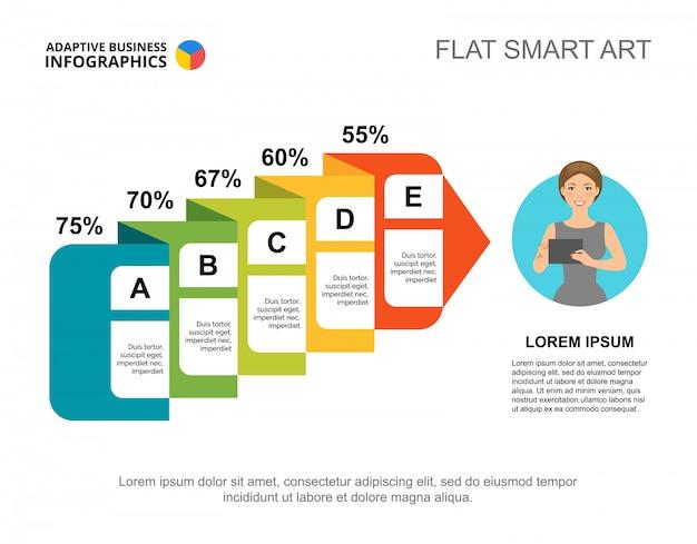 Блок-схема с процентным шаблоном слайда. диаграмма. творческая концепция для инфографики, отчета.