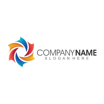 Flower abstract company logo template