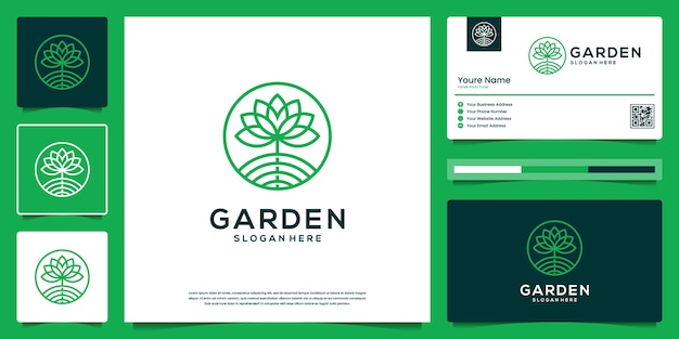 Flower abstract outline logo design. organic nature garden logo and business card.