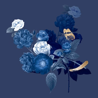花の美的イラストベクトル、ビンテージパブリックドメイン画像からリミックス