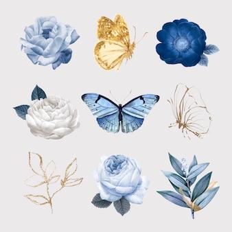 花と蝶のイラストベクトルセット、ビンテージパブリックドメイン画像からリミックス