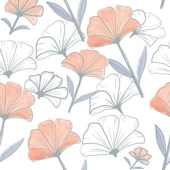 花と枝のシームレスパターン