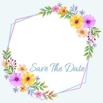 花とフレームの招待状カードベクトルデザイン。