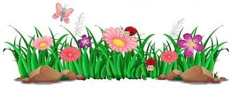 花と草の装飾