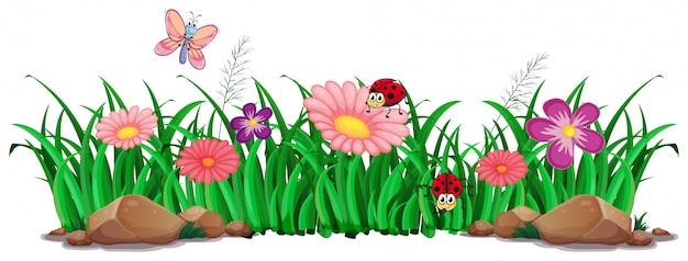꽃과 잔디 장식