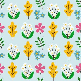 花と葉の秋のテーマのシームレスなパターンの背景