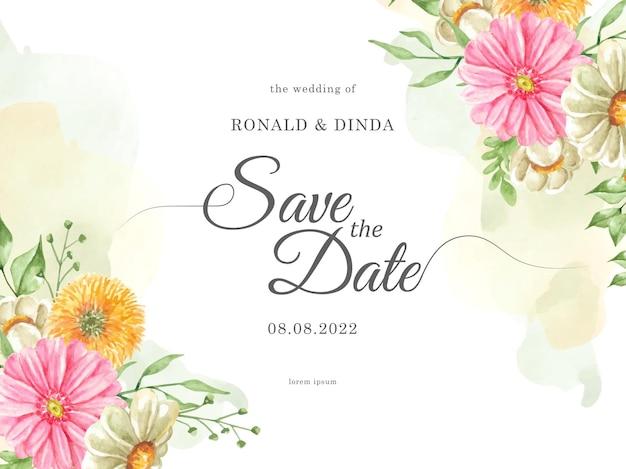 결혼식 초대 카드에 스플래시와 꽃과 잎 수채화 그림