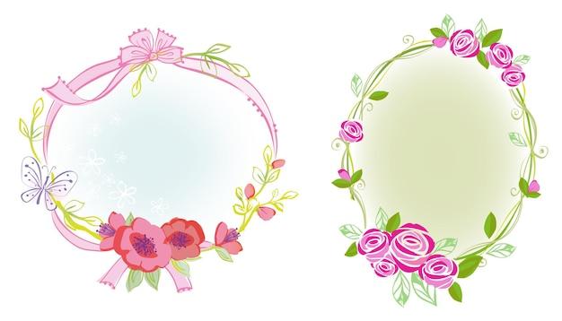 Иллюстрация рамки цветка и ленты с дизайном темы принцессы