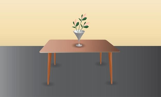 Цветок и ваза на столе