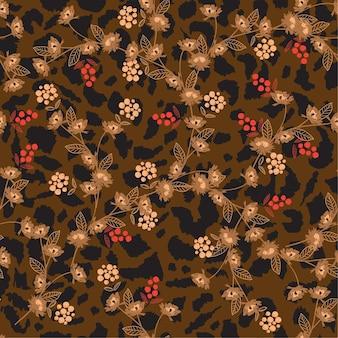 Flower on animal skin leopard prints seamless pattern