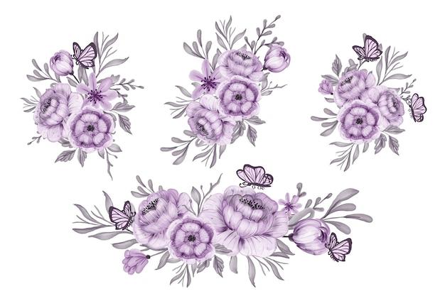 꽃꽂이와 아름다운 보라색 꽃의 꽃다발