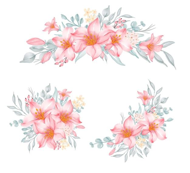 結婚式のためのフラワーアレンジメントとユリピンクの花束