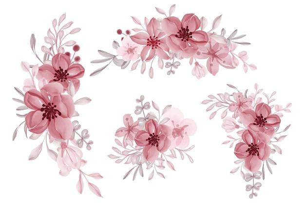フラワーアレンジメントと赤い花の花束