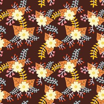 Flower autumn seamless pattern vector background