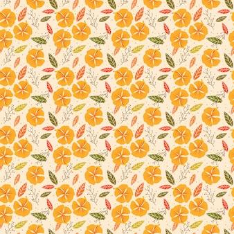 Flower in autumn theme seamless pattern.
