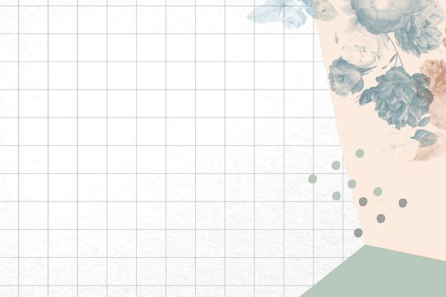 花の背景の抽象的な境界線のベクトル、ヴィンテージのパブリックドメインの画像からリミックス
