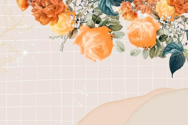 Vettore del bordo estetico del fondo del fiore, remixato da immagini di dominio pubblico vintage