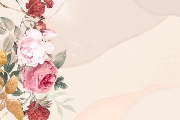 花の背景の美的境界線ベクトル、ビンテージパブリックドメイン画像からリミックス