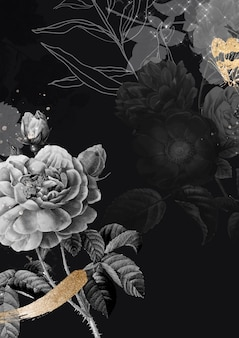 Sfondo di fiori, vettore di poster estetico, remixato da immagini di pubblico dominio vintage