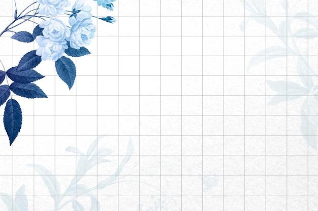 花の背景の青い境界線のベクトル、ヴィンテージのパブリックドメインの画像からリミックス