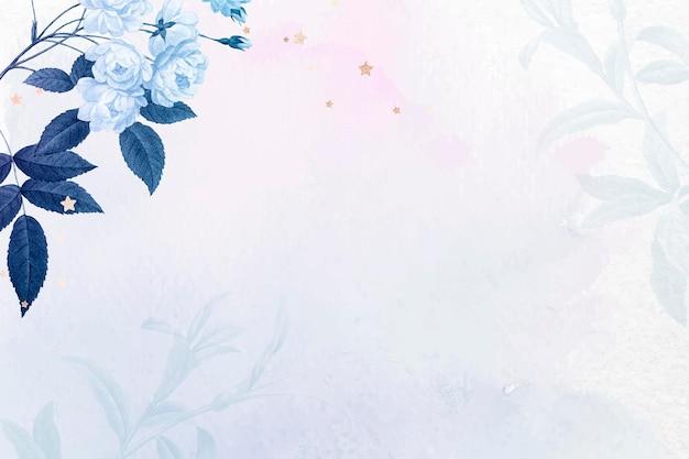 꽃 배경 파란색 테두리 벡터, 빈티지 공용 도메인 이미지에서 리믹스