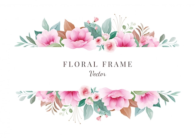 Flower background. horizontal floral frame for wedding invitation card composition. botanic decoration for save the date, greeting, thank you, poster, cover. sakura illustration vector