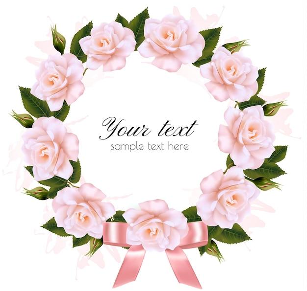 분홍색 리본이 달린 분홍색과 흰색 꽃으로 만든 꽃 배경. 벡터.