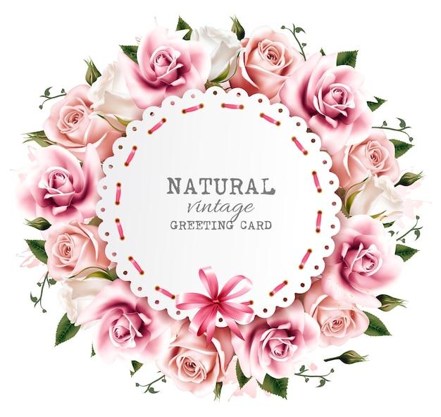 リボンとピンクと白の花で作られた花の背景。ベクター。