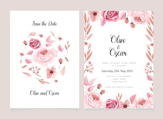 Flower background save the date card and invitation