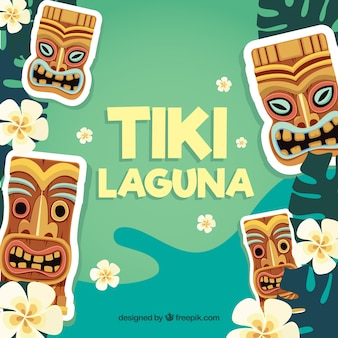 Flower background and tiki masks